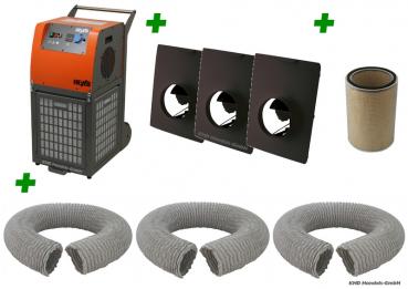 Heylo PowerFilter 3500 Luftreiniger-Paket M mit 3 Schläuchen - Komponenten Übersicht